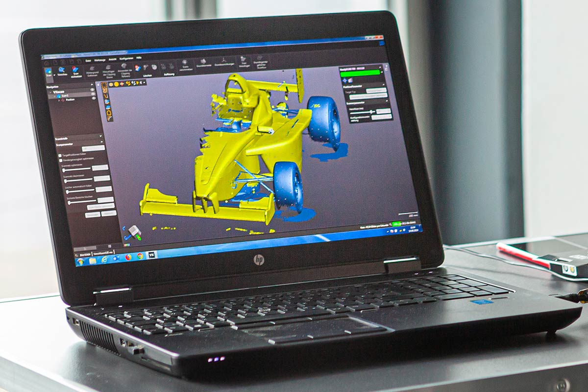 Laptop mit 3D-Scan