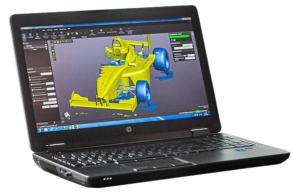 mobiler 3D-Laserscan am Laptop